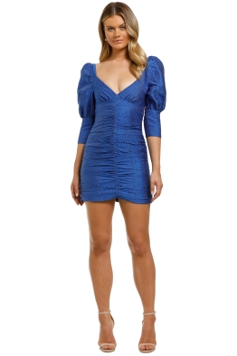 Nicola-Finetti-Puff-Sleeve-Ruched-Mini-Dress-Blue-Embroidery-Front
