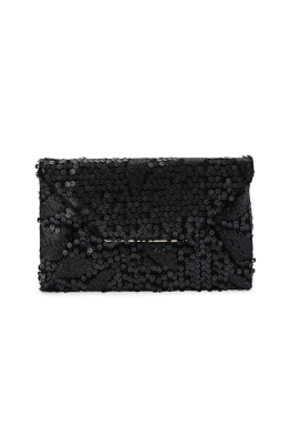 Olga Berg - Chloe Sequin Fold Over Clutch - Black - Product