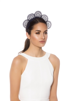 Olga Berg - Claire Lace Fascinator - Navy - Side Model