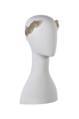 Olga Berg - Gold Filagree Leaf Metal Headband - Spring Wedding