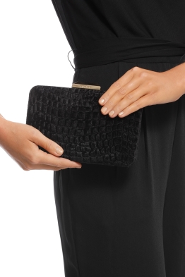 Olga Berg - Annalise Croc Embossed Velvet Clutch - Black - Product