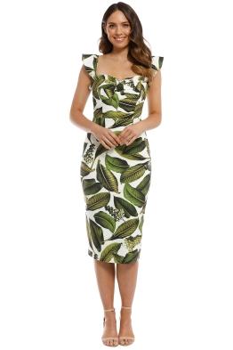 Pasduchas - Vineyard Bustier Midi Dress - Tropical Print - Front