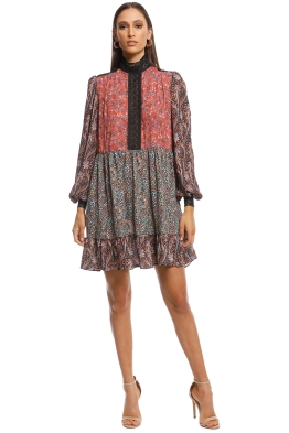 Perseverance London - Splice Mixed Print LS Mini Dress - Print - Front