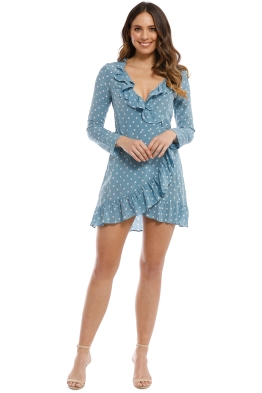 Realisation Par - Alexandra Dress - Dusty Blue Spot - Front