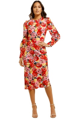 Rebecca-Vallance-Blume-LS-Midi-Dress-Print-Front