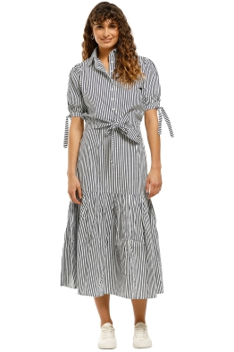 Rue-Stiic-Newport-Pleat-Skirt-Navy-Stripe-Front