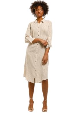 Saints-The-Label-Rowling-Shirt-Dress-Tan-Stripe-Front