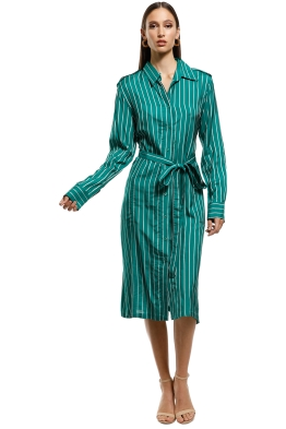 Scanlan Theodore - Stripe Shirt Dress - Emerald - Front