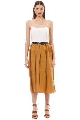 Scotch & Soda - Cupro Midi Skirt - Mustard - Front