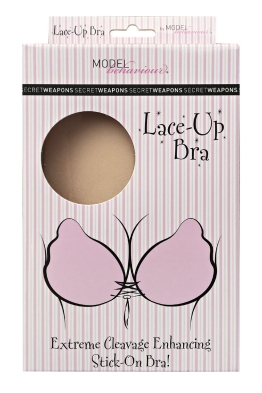 Secret Weapons - Lace Up Bra - Nude - Front