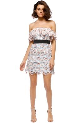 Self Portrait - 3D Floral Mini Dress - Pastel - Front