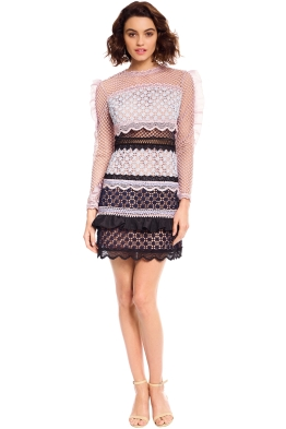 Self Portrait - Bellis Lace Trim Dress with Frilled Sleeves - Pink - Front
