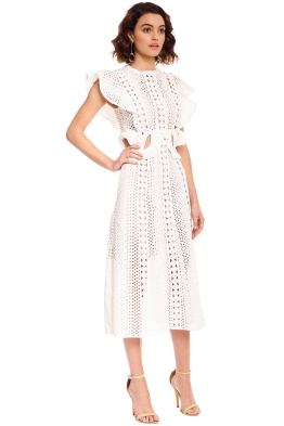 4af8932cc184 Self Portrait - Embroidered Cut-Out Midi Dress - White - Front