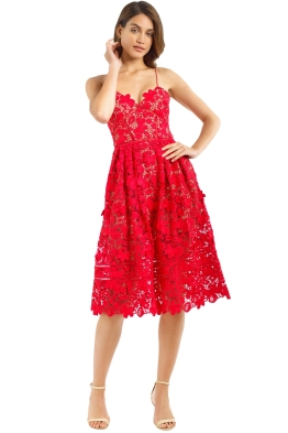 Self Portrait - Floral Azaelea Dress - Tomato Red - Front
