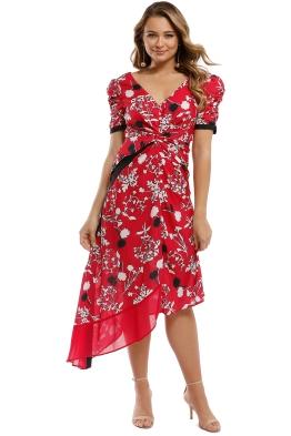 Self Portrait - Floral Print Dress - Red - Front