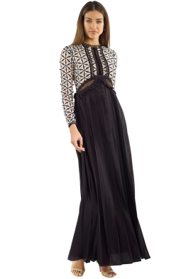 Self Portrait - Guipure Maxi Dress with Waist Cutout - Black White - Front
