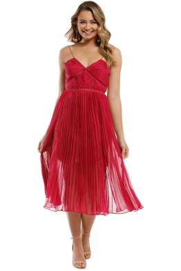 0191b9951b18 Self Portrait - Pleated Chiffon Midi Dress - Fuschia - Front