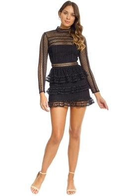 Self Portrait - Tiered Guipure Lace Mini Dress - Black - Front