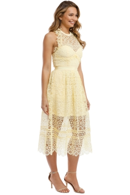 4098b7944808d Self Portrait - Yellow Circle Floral Lace MIdi Dress - Yellow - Front