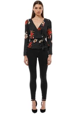 Sheike - Lily Spot Blouse - Black Floral - Front