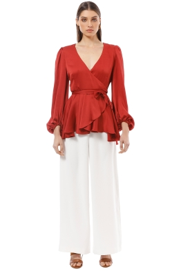 Shona Joy - Anna Puff Sleeve Wrap Blouse - Red - Front
