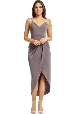 Shona Joy - Cocktail Draped Maxi Dress - Olive - Front
