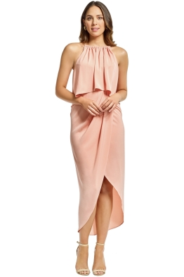 Shona Joy - Frill High Neck Drape Maxi Dress - Dusty Pink - Front