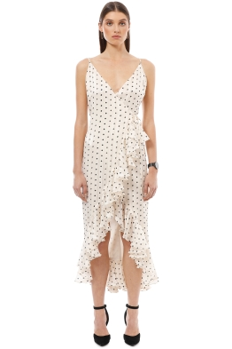 Shona Joy - Karina Cocktail Wrap Dress - White Polka - Front