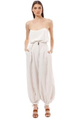 Shona Joy - Linen Tailored Harem Pants with Belt - Natural - Front