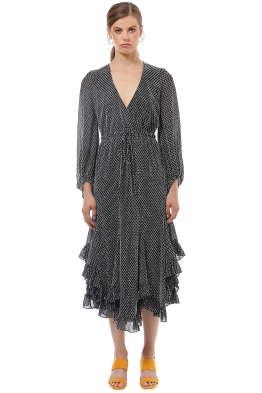 Shona Joy - Salinger Godet Drawstring Midi Dress - Grey - Front