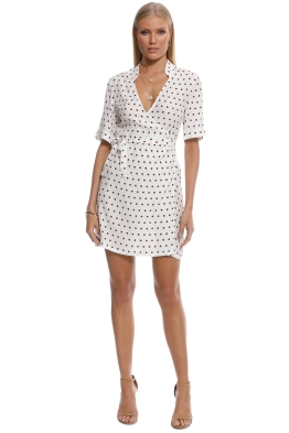 SIR the Label - Luca Wrap Dress - White Polka - Front