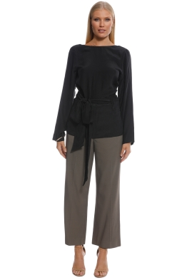 SIR the Label - Margeaux Long Sleeve Wrap Top - Black - Front