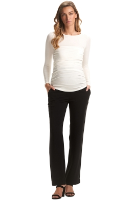 Soon-Maternity-Classic-Work-Pants-Black-Haust-Front