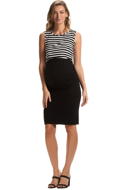 Soon-Maternity-Midi-Work-Skirt-Black-Front