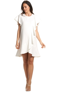 Soon-Maternity-Sarah-Ruffle-Dress-Ivory -Front