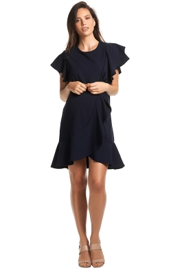 Soon-Maternity-Sarah-Ruffle-Dress-Navy-Front