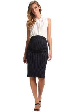 Soon-Midi-Work-Skirt-Navy-Pinstripe-Front