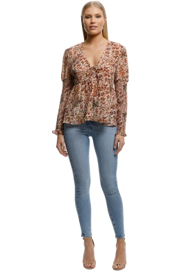 Stevie May - Saffron LS Top - Nude Floral - Front