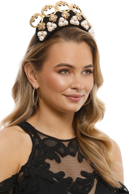 Studio Aniss - Valentina Fascinator - Black Gold - Side Model
