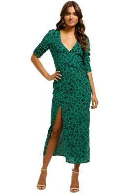 Suboo-Leopard-Lights-Maxi-Wrap-Dress-Green-Front