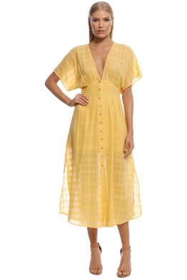 Suboo - Morning Light Ruffled Midi Dress - Yellow - Front