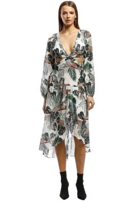 Suboo - Xenia Cut Out Balloon Sleeve Dress - Tropical Print - Front