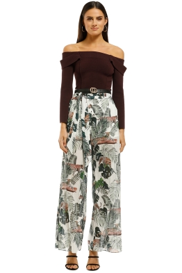 Suboo - Xenia Wide Leg Pant - Tropical Print - Front