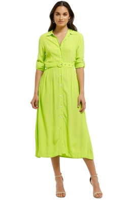 SWF-Lime-LS-Shirt-Dress-Green-Front