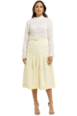 SWF-Paisley-Lemon-Midi-Skirt-Yellow-Front