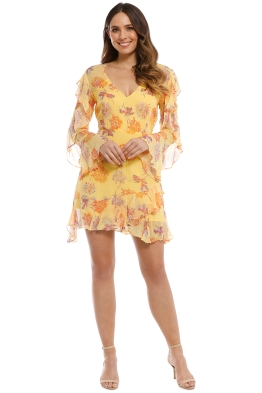Talulah - Cerulean Mini Dress - Yellow Vintage Floral - Front