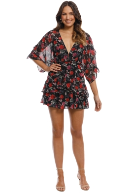 Talulah - Jet Rose Mini Dress - Black Rose Print - Front