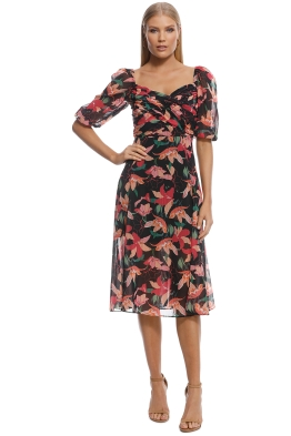 Talulah - Night Mirage Midi Dress - Black Floral - Front