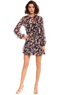 Talulah - Playful L/S Mini Dress - Black Floral - Front