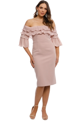 Talulah - Walk On By Off Shoulder Midi Dress - Blush - Front